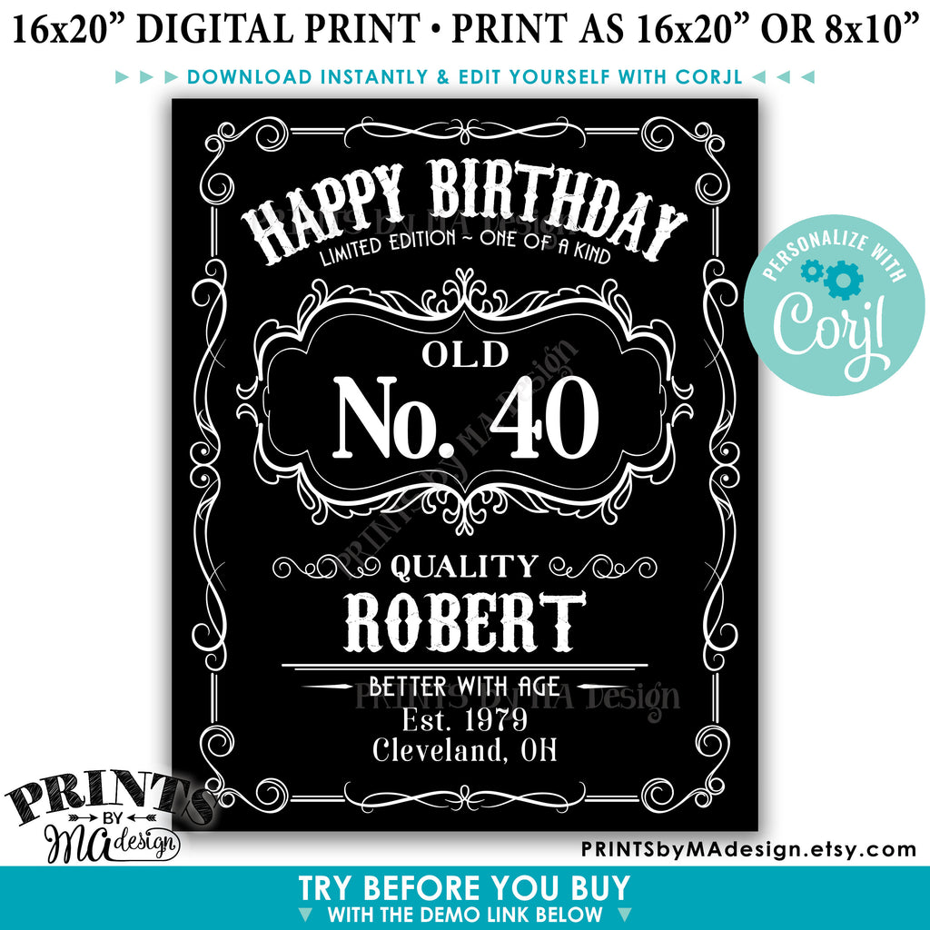 photo regarding Printable Happy Birthday Sign named Pleased Birthday Signal, Basic Whiskey Themed Birthday Poster, Much better with Age, PRINTABLE 16x20\u201d Black White Indicator (Edit Oneself with Corjl)