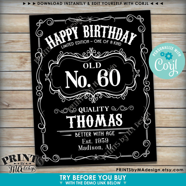"Happy Birthday Sign, Vintage Whiskey Themed Birthday Poster, Better with Age, PRINTABLE 16x20"" Black & White Sign (Edit Yourself with Corjl) - PRINTSbyMAdesign"