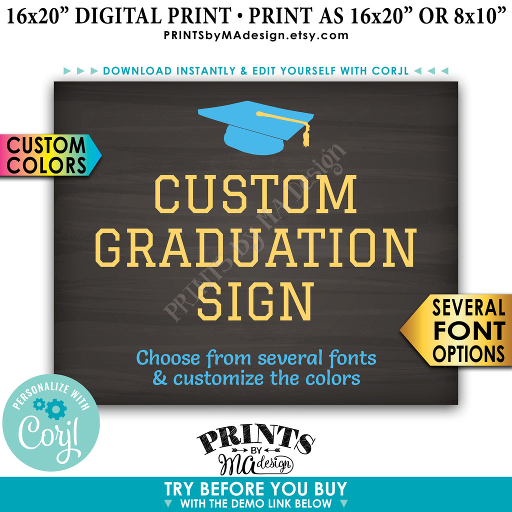 "Create Your Own Graduation Sign, Graduation Party Decorations, Editable PRINTABLE 8x10/16x20"" Chalkboard Style Sign, Landscape (Edit Yourself with Corjl) - PRINTSbyMAdesign"