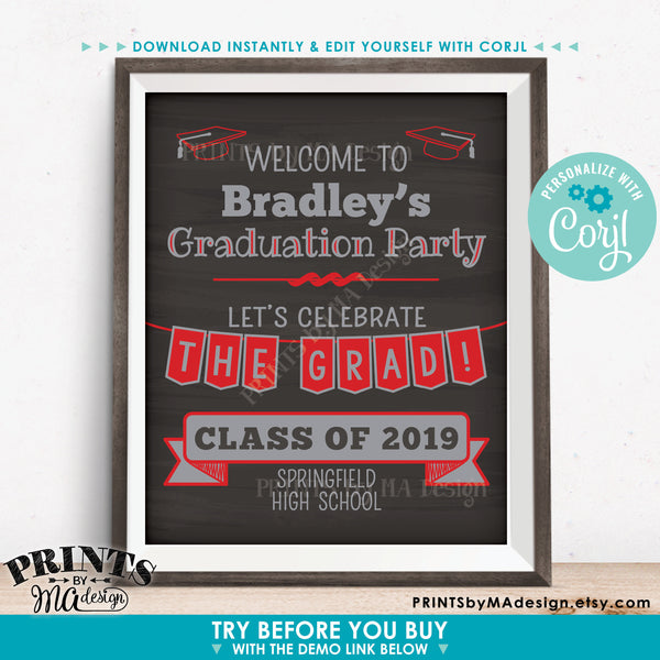 "Welcome to the Graduation Party Sign, Graduation Party Decorations, PRINTABLE 8x10/16x20"" Chalkboard Style Sign (Edit Yourself with Corjl) - PRINTSbyMAdesign"