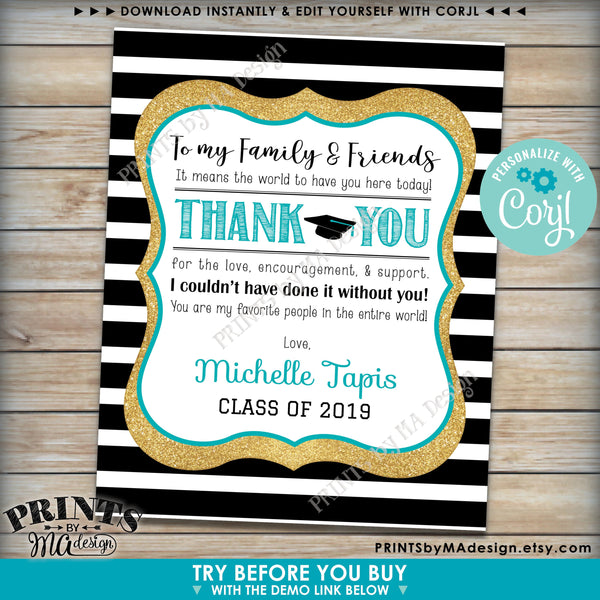 "Grad Thank You Sign, Graduation Party Decoration, Black & Gold Glitter PRINTABLE 8x10/16x20"" Sign (Edit Yourself with Corjl) - PRINTSbyMAdesign"