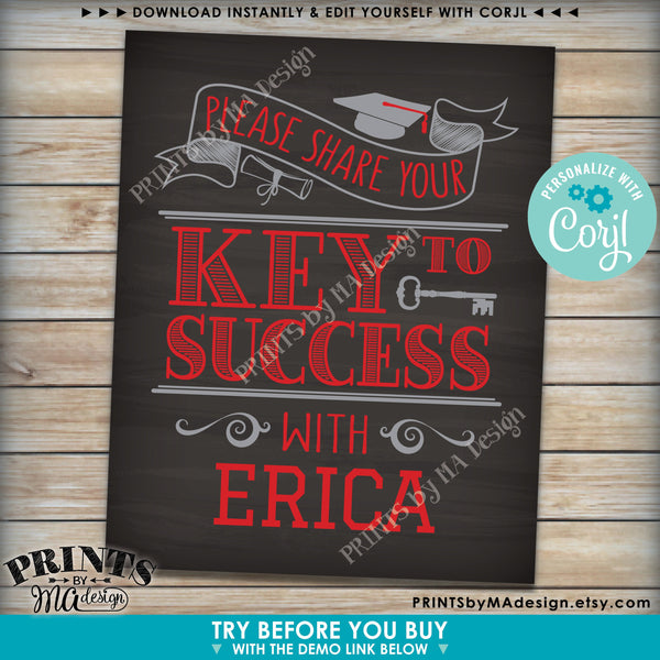 "Graduation Key to Success Sign, PRINTABLE 8x10"" Chalkboard Style Graduation Party Decoration (Edit Yourself with Corjl) - PRINTSbyMAdesign"