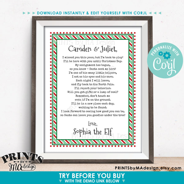"Christmas Elf is Back Letter, The Elf has Returned, I'm Back!, Elf Welcome Back, Create One Custom PRINTABLE 8.5x11"" Digital File (Edit Yourself with Corjl) - PRINTSbyMAdesign"