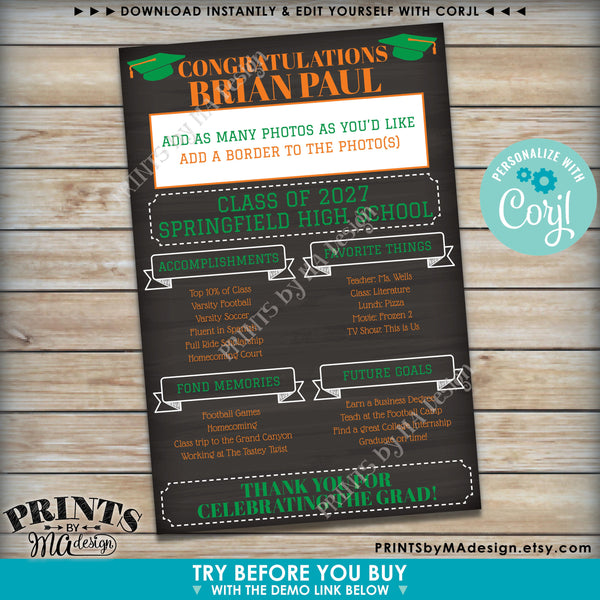"Graduation Party Sign, High School or College Graduation Party Decoration, Milestones, PRINTABLE 24x36"" Chalkboard Style Sign (Edit Yourself with Corjl) - PRINTSbyMAdesign"