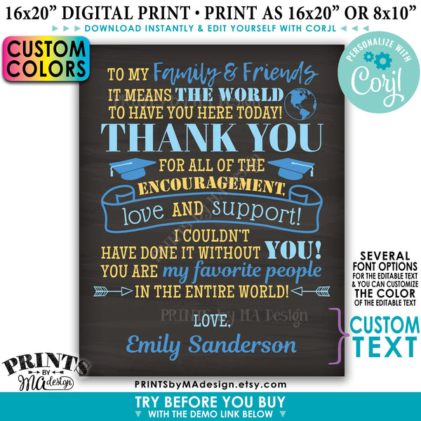 Graduation Party Thank You Sign, Thanks from the Graduate Poster, Editable PRINTABLE Chalkboard Style Grad Decoration (Edit Yourself with Corjl) - PRINTSbyMAdesign