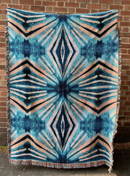 Teal Itajime Diamond Blanket