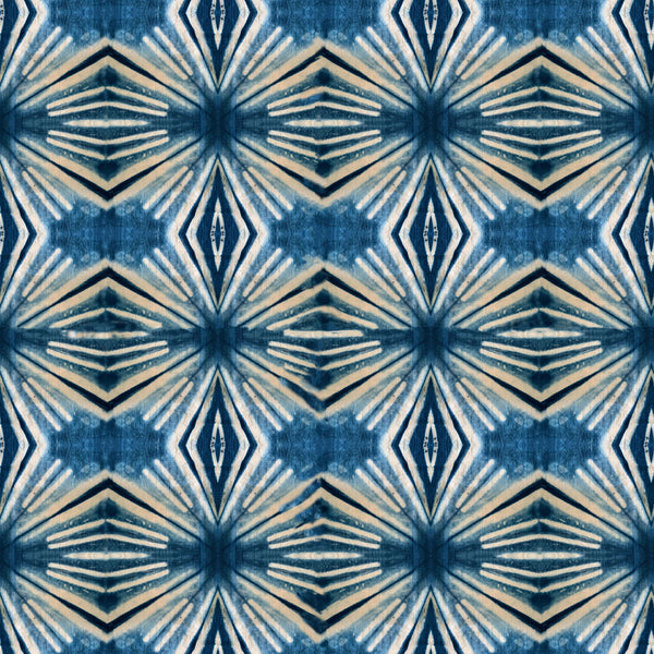 Indigo Itajime Diamond Fabric