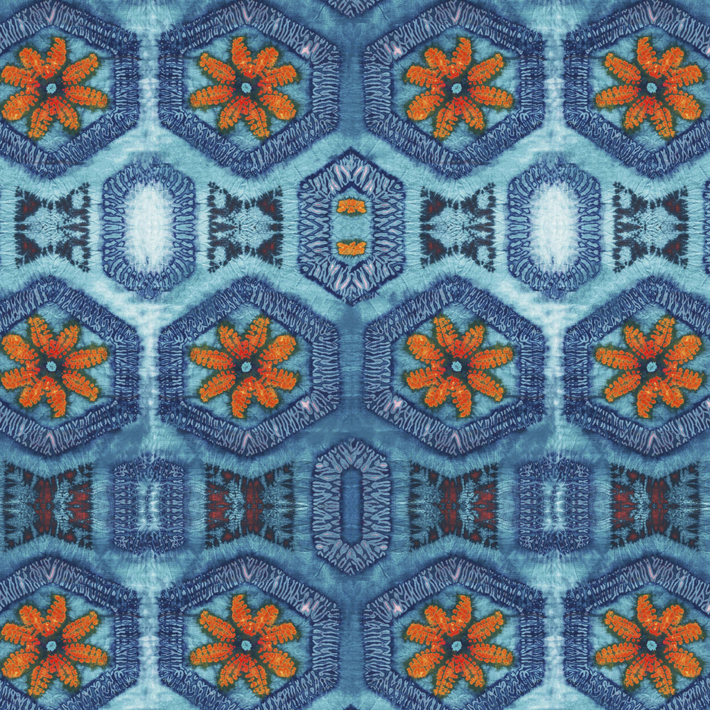 Blue and Tangerine Nui Burst Fabric