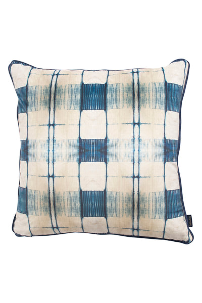 Indigo Itajime Grid Cushion