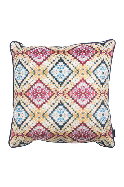 Mustard and Indigo Itajime Cross Cushion