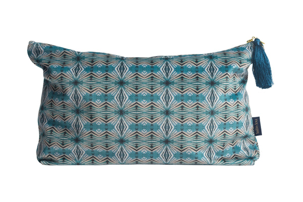 Teal Itajime Diamond Wash Bag