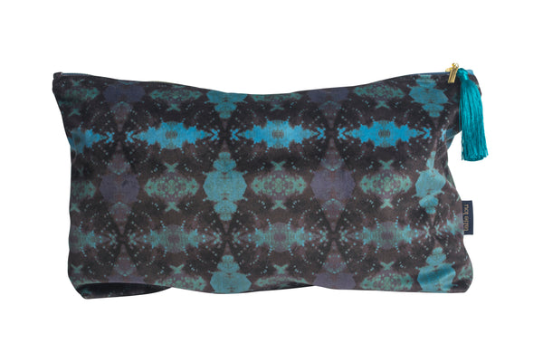 Turquoise and Indigo Itajime Row Wash Bag