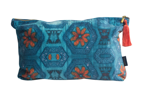 Blue and Tangerine Nui Burst Wash Bag