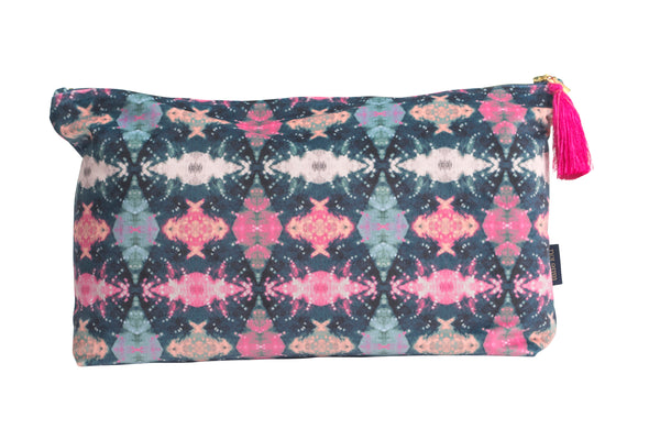 Fuschia and Indigo Itajime Row Wash Bag