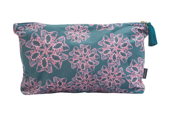 Teal and Lilac Nui Floral Wash Bag