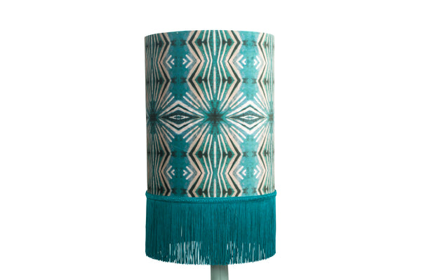 Mint Itajime Diamond Fringe Drum Lampshade