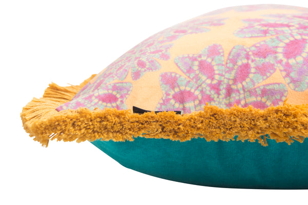 Mellow Yellow and Lilac Nui Floral Fringed Bolster Cushion