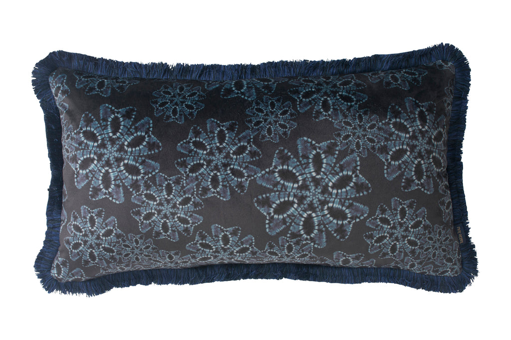 Midnight Nui Floral Fringed Bolster Cushion