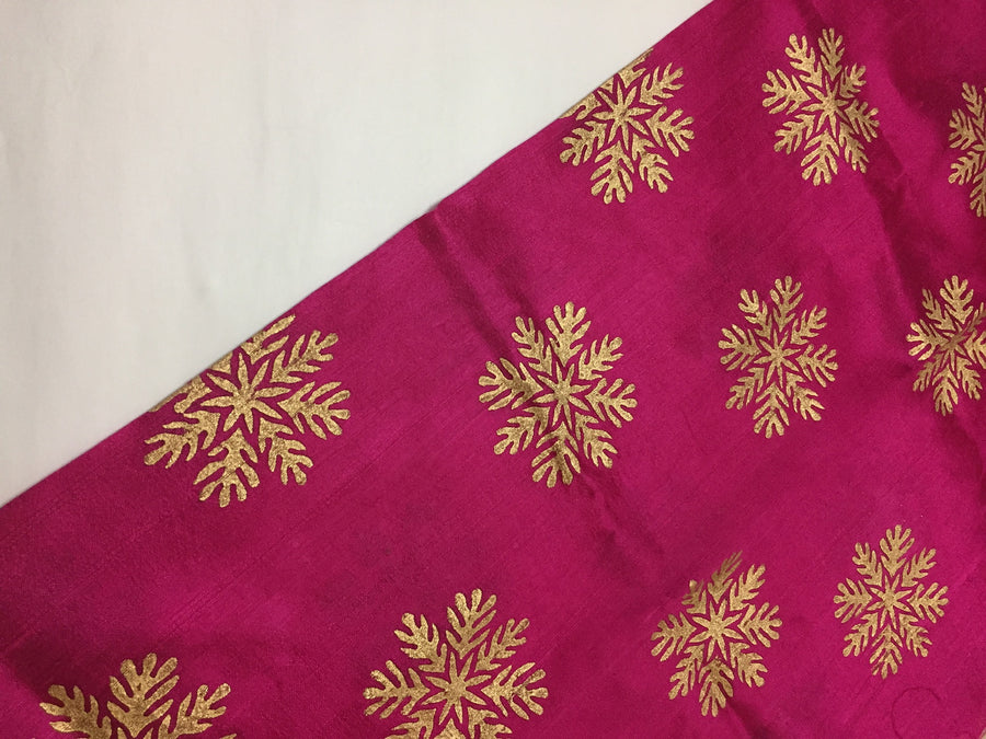 Dupion pure raw silk half and half saree with block print
