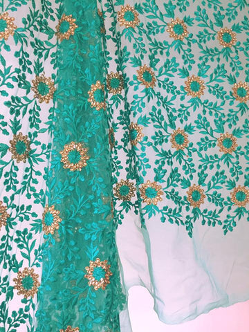 THREAD AND KUNDAN STONE EMBROIDERED NET FABRIC 80 cms cut