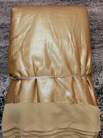 Golden sequin on georgette base fabric