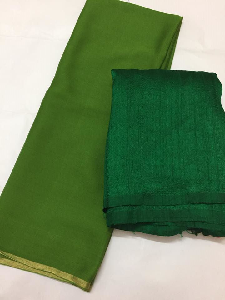 Pure raw silk top with pure silk chiffon dupatta