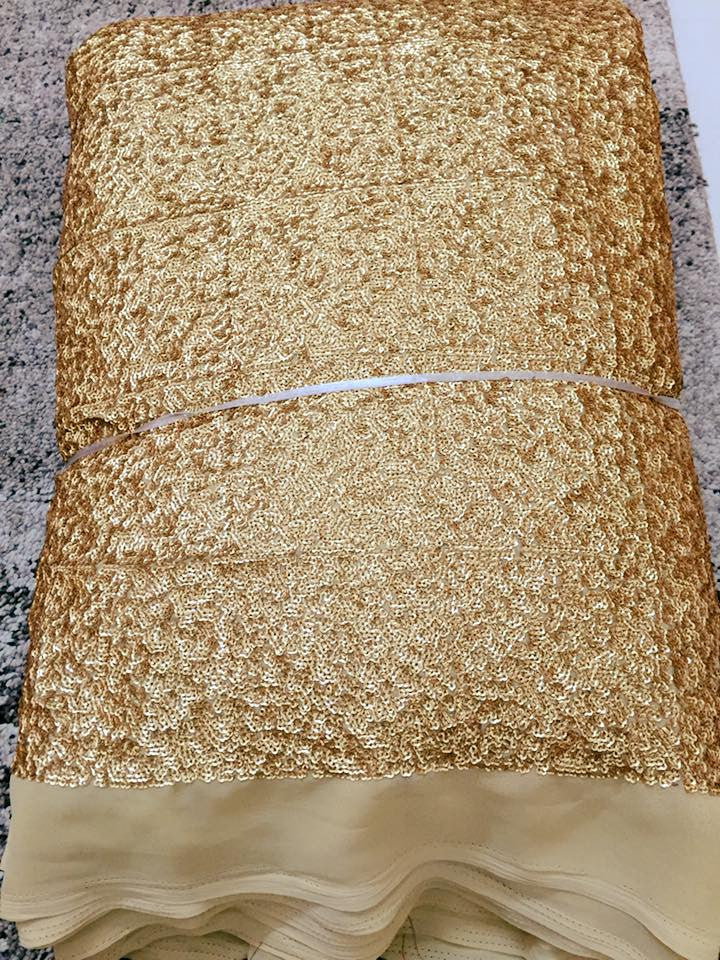 Golden sequin on georgette base fabric (1.8 metres cut)