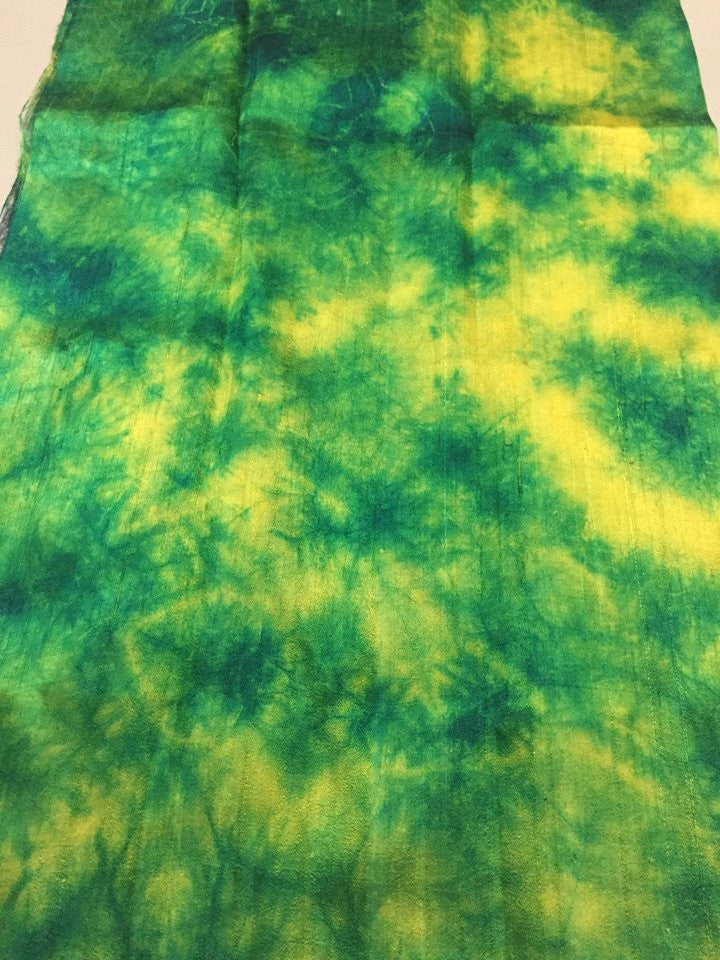 Shibori dyed Pure dupion raw silk fabric