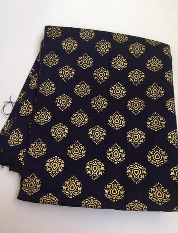 Gold printed pure raw silk kurta fabric