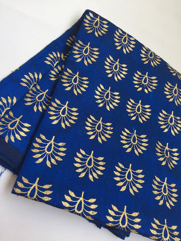 Golden Block printed pure raw silk kurta fabric