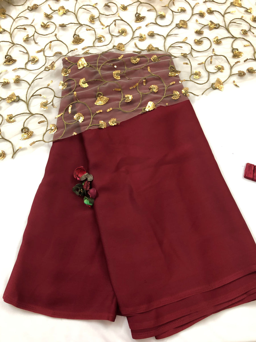 Semi silk saree with embroidered blouse