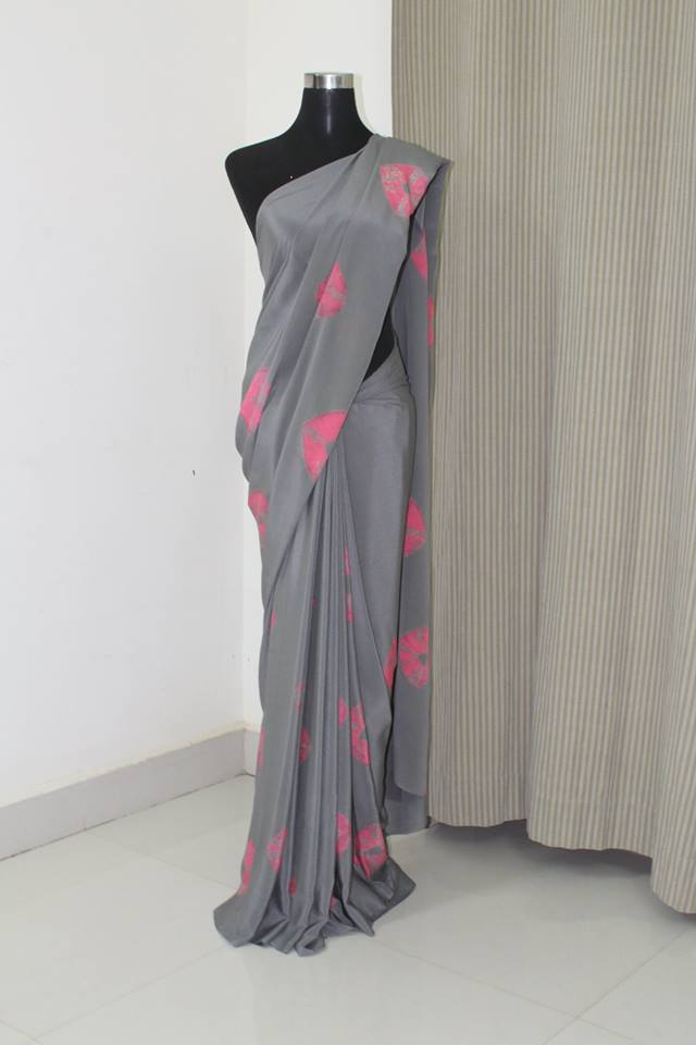 Bandhani pure silk crepe saree