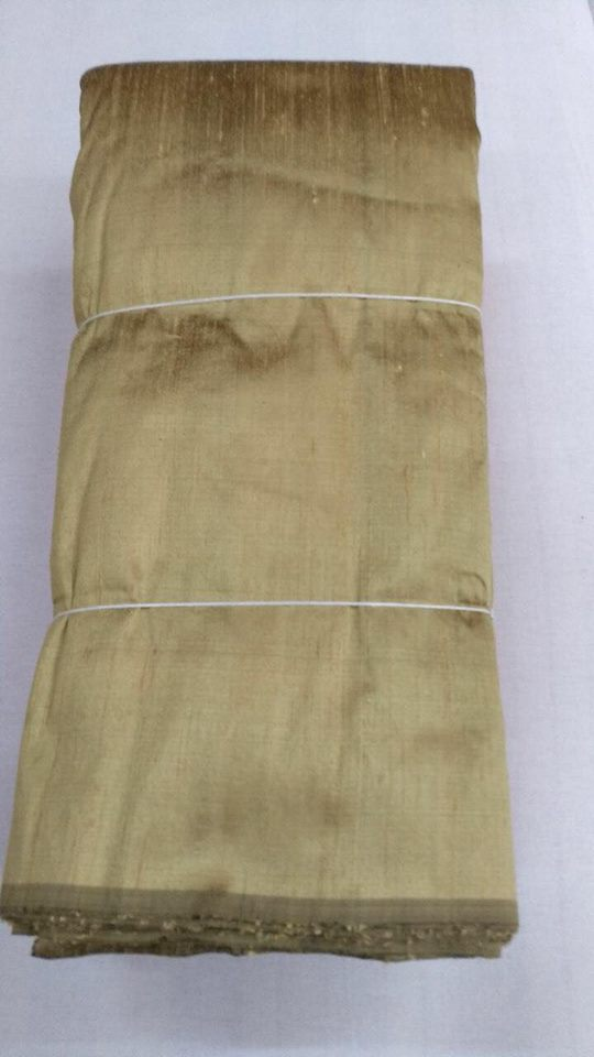 Dual tone dupion pure raw silk 100 grams -BLACK AND TUSSAR COLOUR