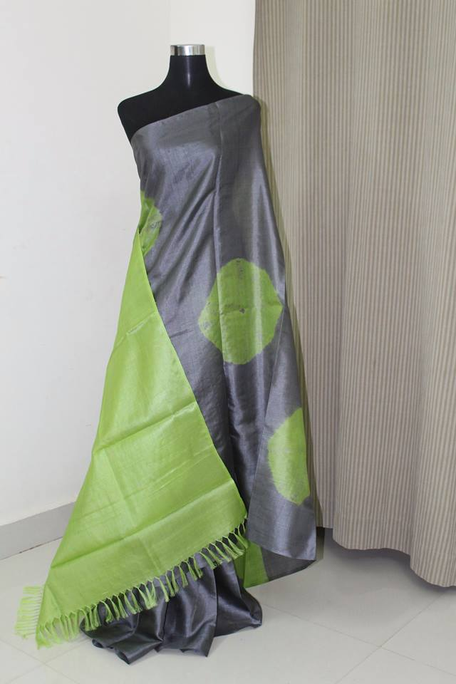 Pure tussar silk saree, pure silk saree, tie and dye saree , tie and dye tussar silk saree, shibori saree online.