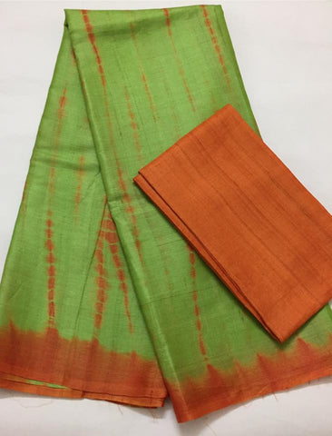 Tie and dye pure tussar silk saree