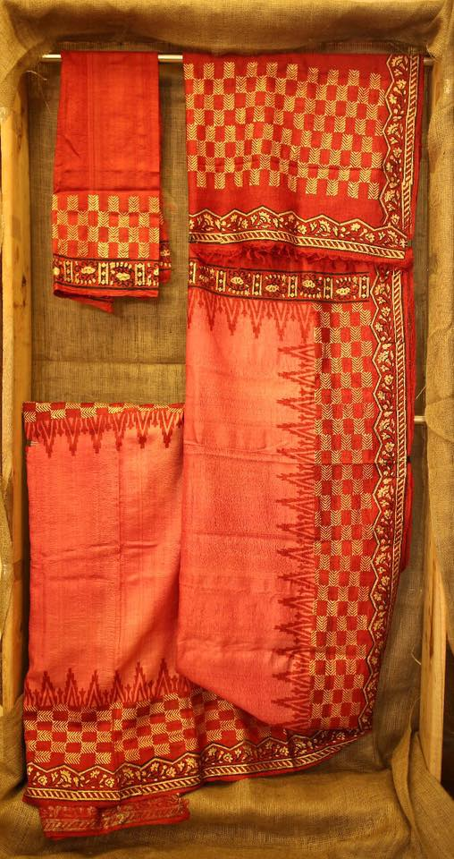 Block printed pure silk saree with blouse