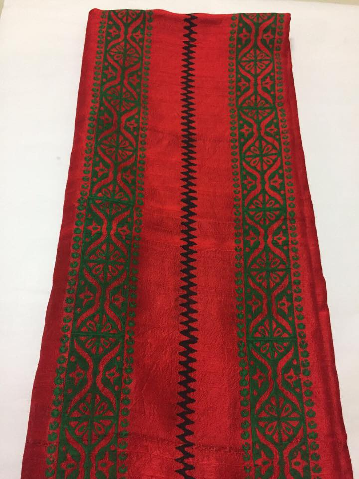 Block printed pure raw silk kurta