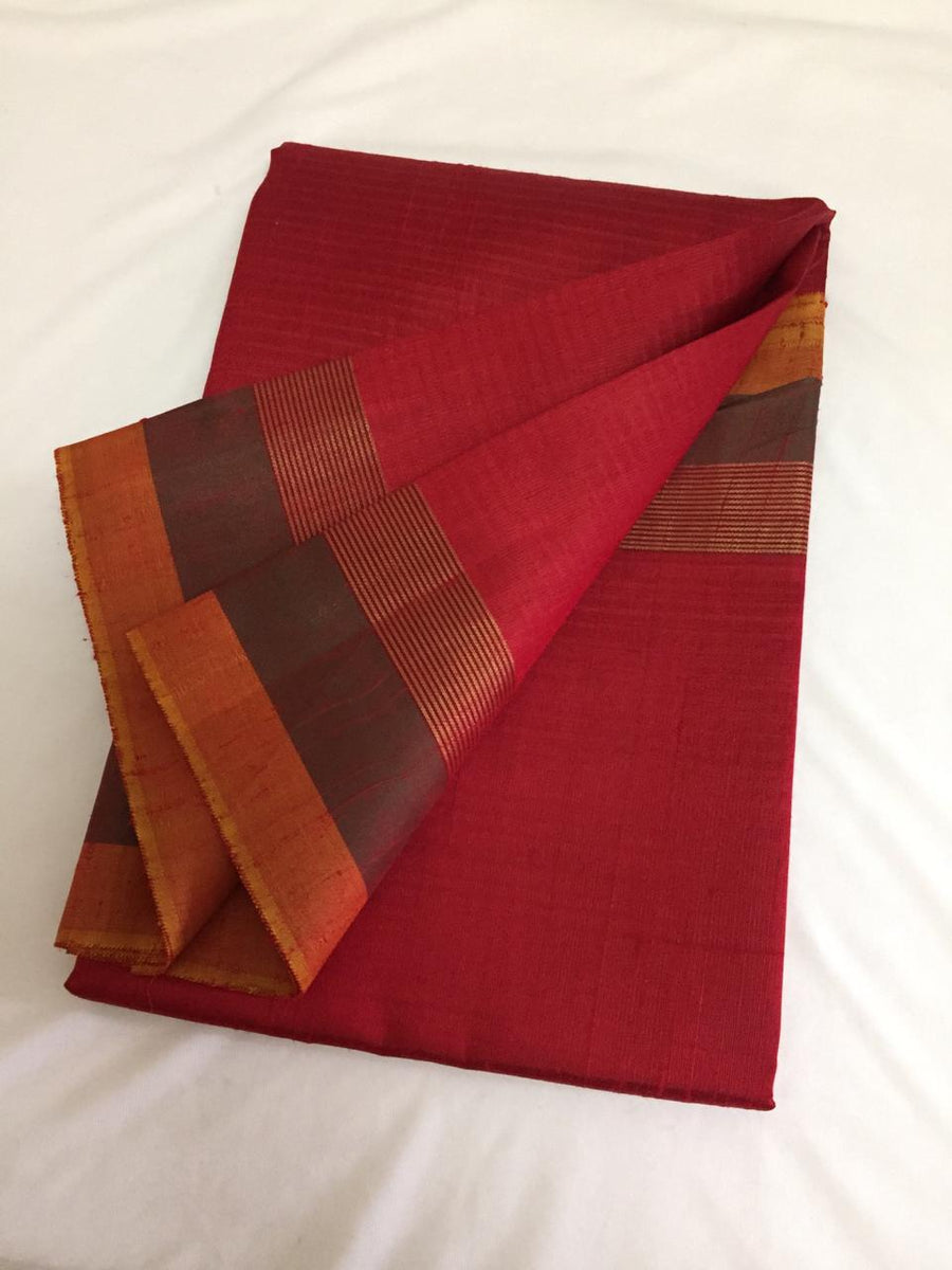 Handloom pure raw silk saree with contrast border