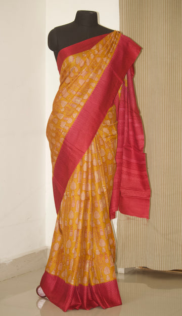 Handloom block printed Pure tussar silk saree