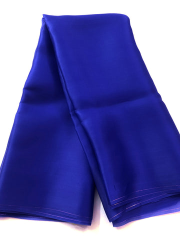 Pure silk satin organza royal blue saree (50 grams per metre)