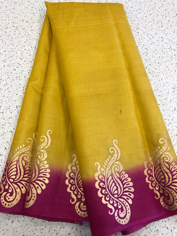 Block printed Handloom pure tussar silk saree
