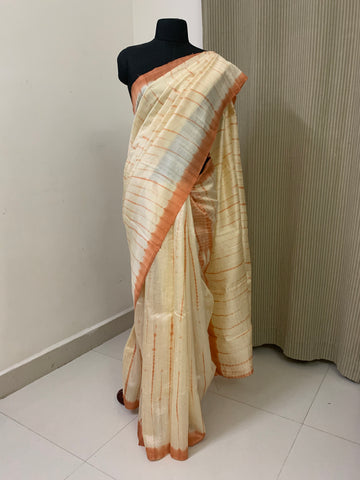 Tie and dye pure raw silk saree