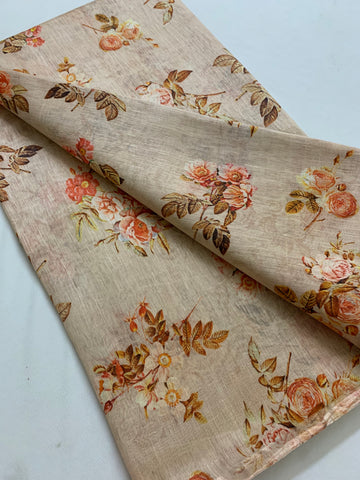 Handloom Printed pure linen silk fabric