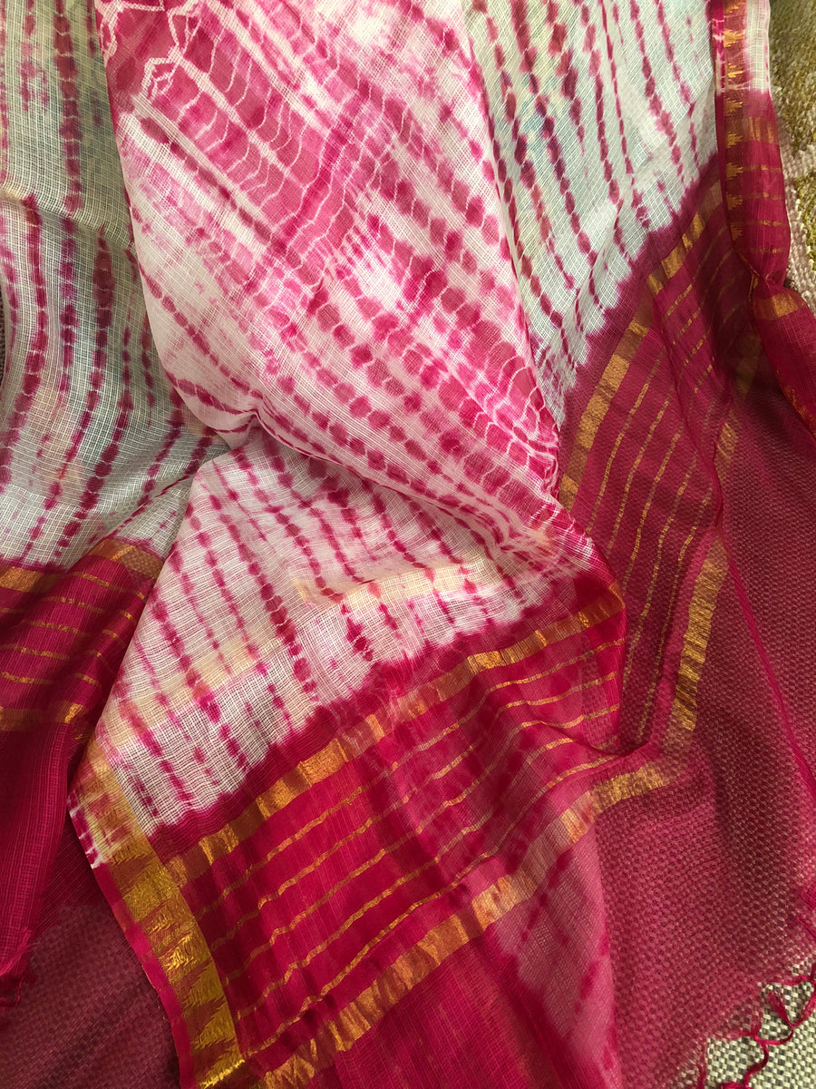 Tie and dye pure silk Kota Dupatta