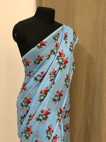 Embroidery on georgette saree