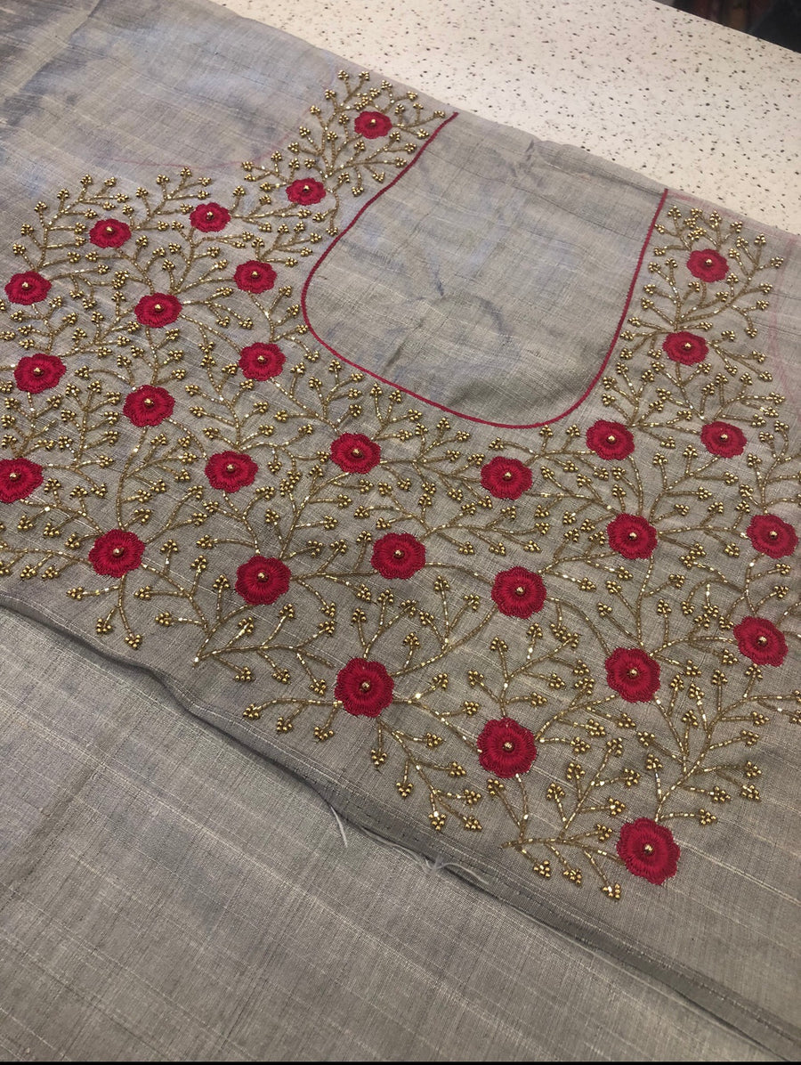 Hand embroidered pure raw silk blouse fabric