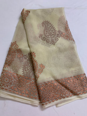BLOCK PRINTED PURE SILK ORGANZA SAREE