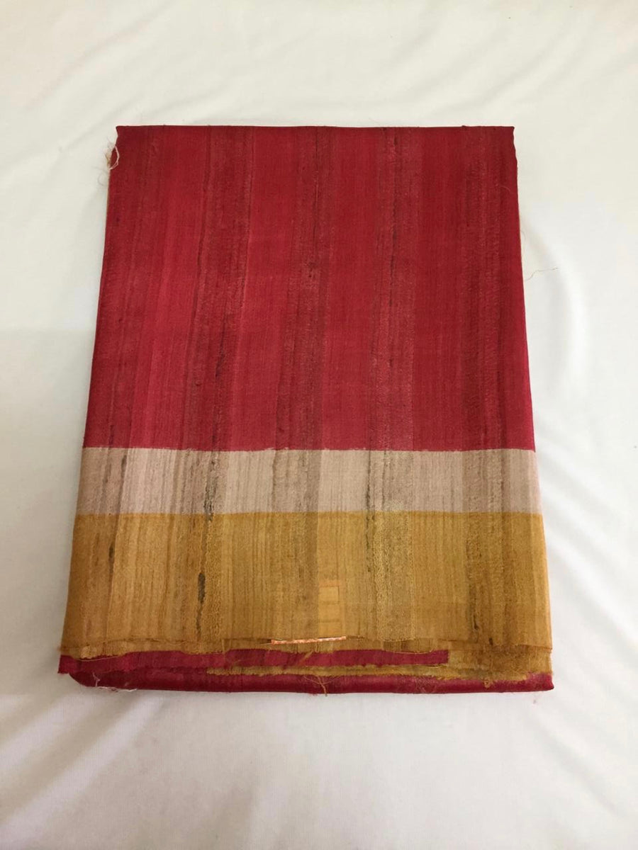 Handloom pure geecha silk saree with contrast border