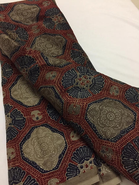 Ajrak printed modal satin fabric