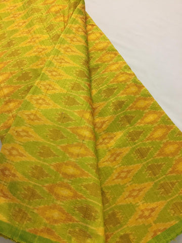 Handloom Ikat pure dupion raw silk fabric